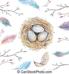 Hand drawn watercolor art bird nest with eggs ,easter...