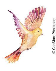 Watercolor illustration of a yellow bird flying, isolated on...