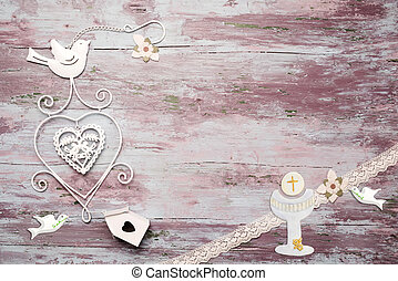First Communion wooden background - First Communion...