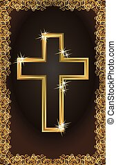 Happy Easter golden christian cross card, vector...