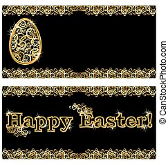 Happy Easter golden banners, vector illustration