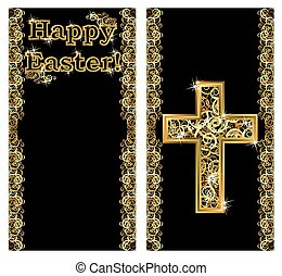 Happy Easter golden banners with cross, vector illustration