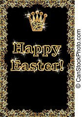 Happy Easter golden crown banner, vector illustration