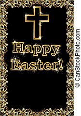 Happy Easter golden cross banner, vector illustration