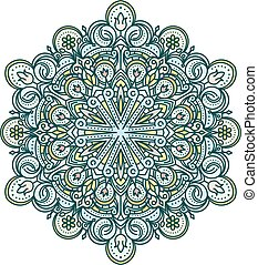 Abstract vector color round lace design in mono line style -...