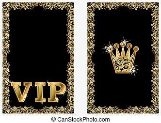 VIP golden crown banners, vector