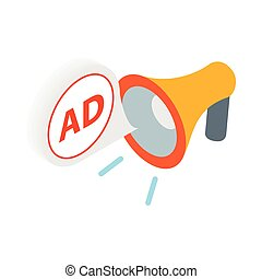 Advertisement megaphone icon in isometric 3d style on a...