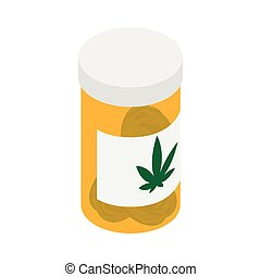 Bottle with buds of medical marijuana icon in isometric 3d...