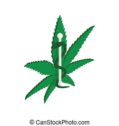 Marijuana leaf with Rod of Asclepius icon in isometric 3d...