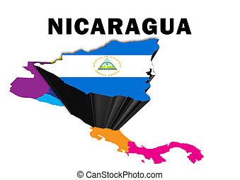 Nicaragua - Outline map of Central America with Nicaragua...