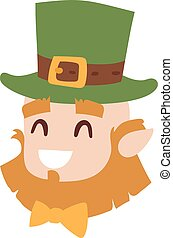 Vector smiling leprechaun head, the symbol of St Patrick day...