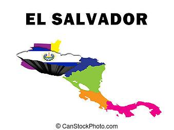 El Salvador - Outline map of Central America with El...