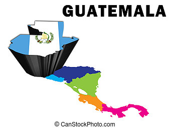 Guatemala - Outline map of Central America with Guatemala...