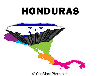 Honduras - Outline map of Central America with Honduras...
