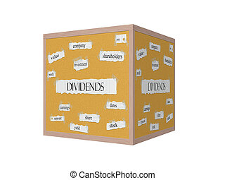 Dividend 3D Corkboard Word Concept with great terms such as...