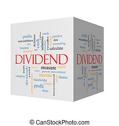 Dividend 3D cube Word Cloud Concept