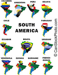South America - Montage of all 13 South American mainland...