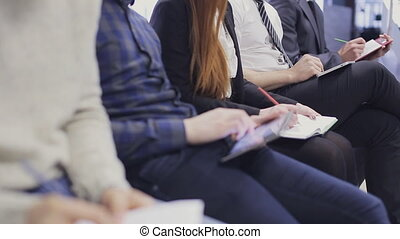 Businesswoman hands working on tablet computer on meeting