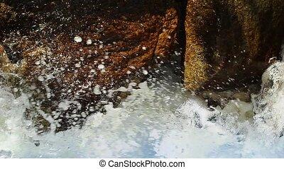 Frothing River Water - Macro shot of rapids splashing...