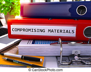 Compromising Materials on Red Office Folder Toned Image -...