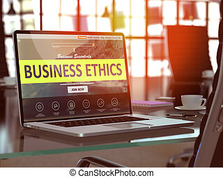 Business Ethics Concept on Laptop Screen. - Business Ethics...