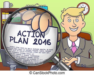 Action Plan 2016 through Magnifying Glass. Doodle Style.