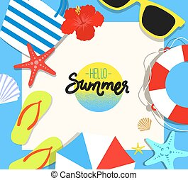 Vector summer background with holiday elements. Flat style