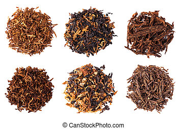 dried smoking tobacco - set dried smoking tobacco Isolated...