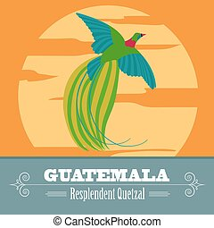 Guatemala landmarks. Retro styled image. Vector illustration