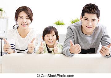 família, polegares, jovem, cima, atraente, Feliz
