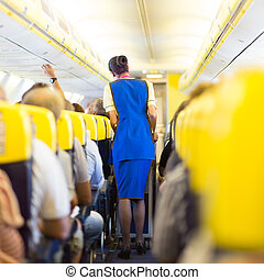 Stewardess and passengers on commercial airplane - Interior...