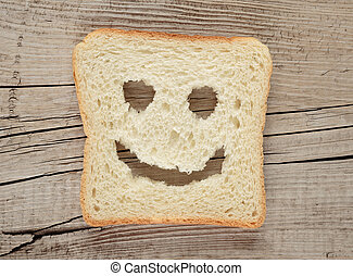 Happy toast on an old wooden