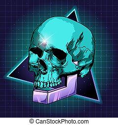 sci-fi skull vector - Sci-fi illustration of skull. Retro...