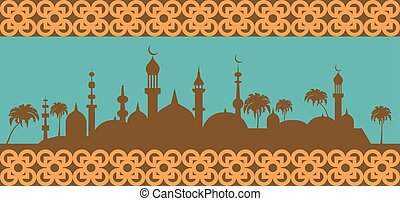 Islam banner Muslim culture Vector illustration