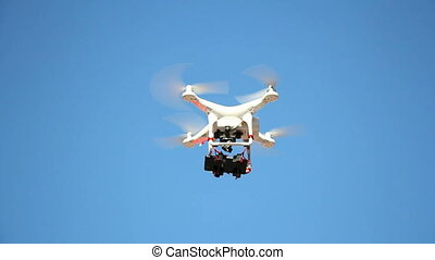 Drone flying with cell phone camera mounted on a home made...