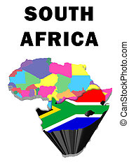 South Africa - Outline map of Africa with South Africa...