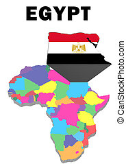 Egypt - Outline map of Africa with Egypt raised and...