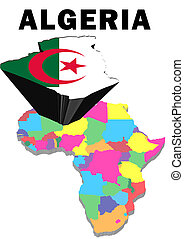 Algeria - Outline map of Africa with Algeria raised and...
