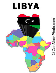Libya - Outline map of Africa with Libya raised and...