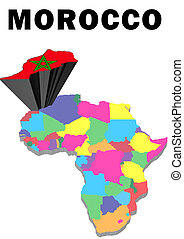 Morocco - Outline map of Africa with Morocco raised and...