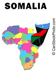 Somalia - Outline map of Africa with Somalia raised and...