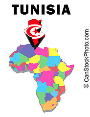 Tunisia - Outline map of Africa with Tunisia raised and...