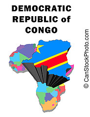 Democratic Republic of Congo - Outline map of Africa with...