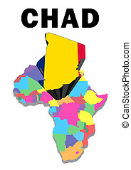 Chad - Outline map of Africa with Chad raised and...
