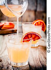 non-alcoholic blood orange cocktail in glass - nonalcoholic...