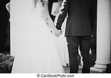 foto, novio, novia, negro, Manos, Durante, blanco, juramento