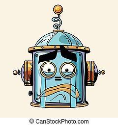 emoticon cry emoji robot head smiley emotion pop art retro...