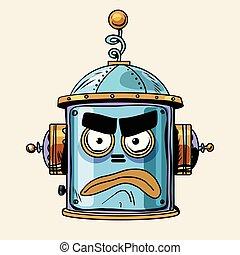 emoticon angry emoji robot head smiley emotion pop art retro...