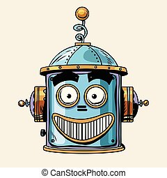 emoticon happy emoji robot head smiley emotion pop art retro...