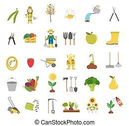 Gardening work, farming icon set. Flat style design. Vector...